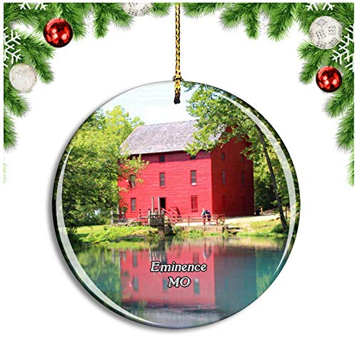 Weekino Eminence Alley Spring Grist Mill Missouri USA Christmas Ornament Xmas Tree Decoration Hanging Pendant Travel Souvenir Collection Double Sided Porcelain 2.85 Inch