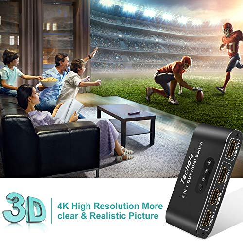 HDMI Switch 4k HDMI Splitter-Techole Aluminum HDMI Switch 3 in 1 Out, HDMI Switch with IR Remote Control, Sup   ports 4k@60HZ 3D HD1080P, HDMI Switcher for PS4 Xbox Apple TV Fire Stick Blu-Ray Player