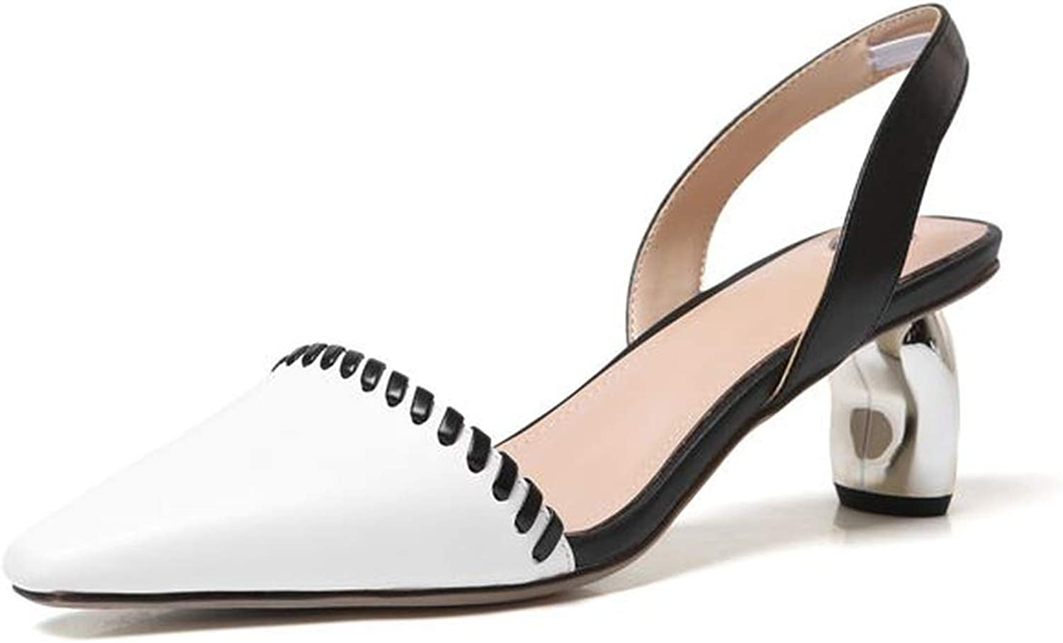 Genuine Leather shoes Women Cow Leather Women's Sandals high Heels Lady Dress shoes