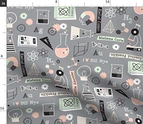 Wissenschaft, Reagenzgläser, Mikroskop, Magnet, Neuronen, Taschenrechner, Stoffe - Individuell Bedruckt von Spoonflower - Design von Amel24 Gedruckt auf Baumwoll Popeline