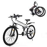 SAMEBIKE Bicicleta de Montaña Eléctrica Plegable de 26 Pulgadas, Bicicletas Eléctricas Motor sin Escobillas 500W, con Instrumento LCD Central con Función USB, 21 Velocidades[EU Stock]