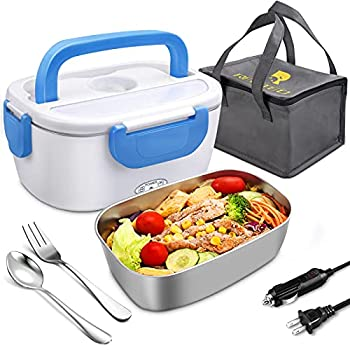Electric Lunch Box 12V 24V 110V Portable Heating Lunchbox Leakproof Food Heater warmner for Car School Office with Stainless Steel Container Fork & Spoon and Carry Bag