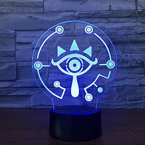 Quad 3D nachtlampje kinderen nachtlampje 7 kleuren veranderende optische illusie kinderlamp - perfect geschenk voor jongens, meisjes met Kerstmis verjaardag of vakantie