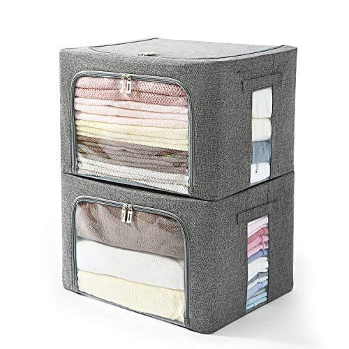 Caja de almacenamiento de ropa – Juego de organizador apilable de tela de lino con ventana transparente y asas de transporte y marco de metal – Paquete de 2 grandes capacidad...