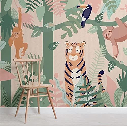 Mural personalizado de amigos de animales de la selva para niños, dormitorio de niños de jardín de infantes, Mural de fotos de dibujos animados en 3D, decoración, papel tapiz impermeable-200X140cm