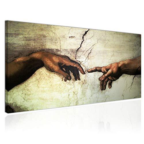 Topquadro Cuadro XXL sobre Lienzo, Imagen Panorámica 100x50cm, la Creación de Adán, Detalle Manos, Renacimiento Italiano - Decoración de Pared, Imagen Panorámica - Una Pieza