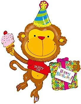 Party on Happy Birthday Monkey 49  Mylar Balloon Large