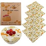 Zeattain Lebensmitteln Bienenwachstuch Set 5 Stück, Wiederverwendbar und umweltfreundlich für die Lebensmittelkonservierung