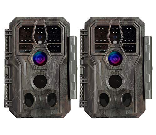 game cams 2-Pack Stealth Trail Game Cameras 24MP Photo 1296P Video 100ft Night Vision No Glow 0.1S Trigger Speed Motion Activated Audio Waterproof Wildlife Hunting Deer Camera Password Protected Time Lapse