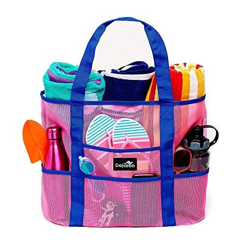 Dejaroo Mesh Beach Bag - Lightweight Tote Bag For Toys & Vacation Essentials (Pink/Blue Handles)