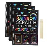 Juego de Libros de Arte Scratch Paper Scratch 3pcs Rainbow Scratch Art Notebooks Artesanía con 3 bolígrafos de Madera para niñas y niños DIY Drawing Art