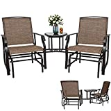 L-Glider Chair,Outdoor Double Glider Chair 3-Piece Patio Sling Rocker Chair with Table Sling Fabric,Table with Umbrella Hole for Porch Garden Lawn