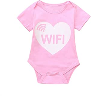 0faaee207ae7 NUWFOR Toddler Baby Short Sleeve Letter Print Romper Tops Matching Family  Clothes