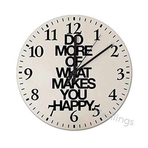 Mesllings Wanduhren Do More Of What Makes You Happy Runde Holz-Wanduhr, Wanddekoration Uhren für Küche, Büro, Retro-Hängeuhr, Heimdekor-Zubehör