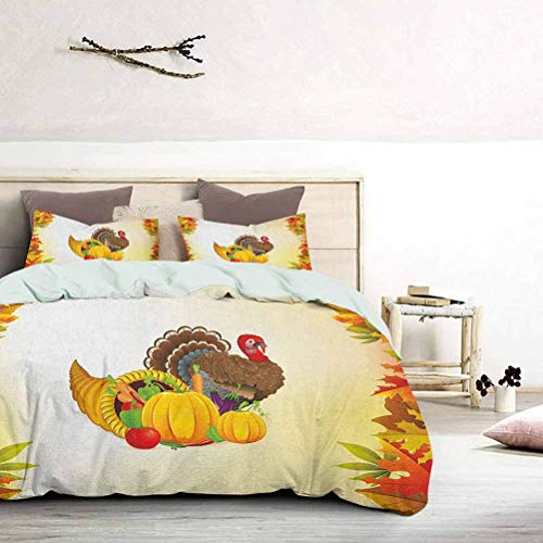 UNOSEKS LANZON Bedspreads Coverlet Cornucopia and Animal with a Beak Poultry Pattern Fall Season Fruits Autumn Leaves Retro Printing Bedding Set Hidden Zipper Closure Multicolor, King Size