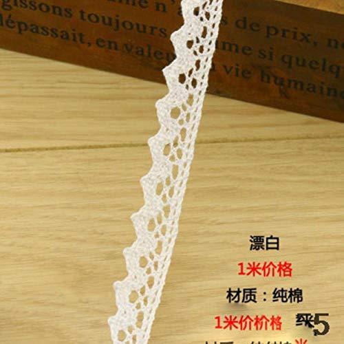 Wit rode tanden rand puur katoen katoen kant, handgemaakte tafelkleed stof materiaal, 1,9 cm