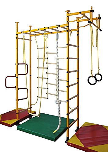 NiroSport FitTop M3 Indoor Klettergerüst für Kinder Sprossenwand für Kinderzimmer Turnwand Kletterwand, TÜV geprüft, kinderleichte Montage, Made in Germany (Gelb, Raumhöhe 240-290 cm)