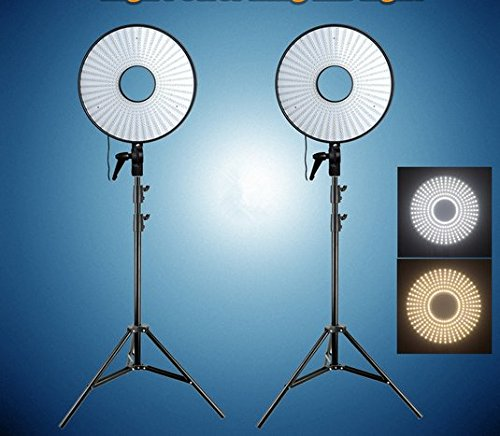 GOWE Super Power Anneau lumineux LED Bicolore Température + Supports d'éclairage pour Canon Nikon Sony DSLR