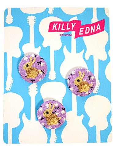 KILLYEDNA(キリィエドナ) 刺繍くるみボタン キリーズマーブル 3個セット20mm 野うさぎ