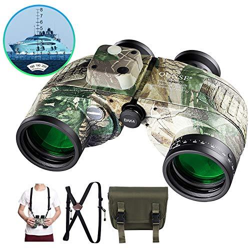 QUNSE 10x50 Militaire verrekijker voor volwassenen met afstandsmeter en kompas, geschikt voor jagen, vogels kijken en reizen (Camouflage)