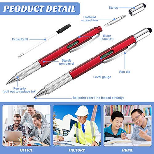 10 Pieces Multitool Pen Set, 9 Pieces 6 in 1 and 9 in 1 LED Light Touchscreen Multifunctional Stylus Pen with Ruler Level Bottle Opener Screwdriver, 10 Refills for Men (Multi-color)