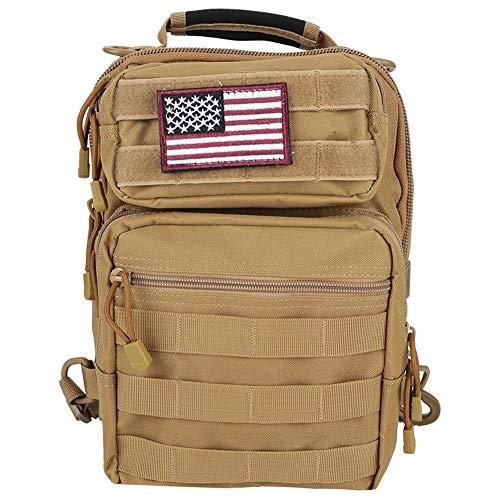 Slingbag Taktisch Brusttasche Militär Schulterrucksack Messenger Schultertasche mit amerikanischen Nationalflagge Aufkleber Multifunktion Reisetasche für Outdoor-Camping Jagd Wandern(Khaki)
