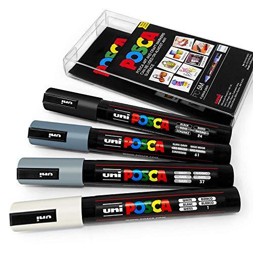 4-teiliges 5M-Marker-Set Uni Posca in Plastiketui für Kunstmalerei, Grautöne
