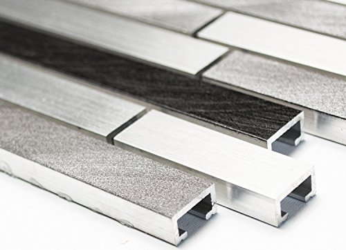 Alu Mix alluminio/grigio/nero alluminio composito di rete mosaico mosaico piastrelle cucina e bagno piastrelle specchio parete in metallo