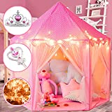 Princess Castle Play Tents for Girls, Kids Playhouse Indoor & Outdoor with 16.5 Feet Star Lights, Bonus Princess Tiara and Wand, Large Size 55' x 53' Toy, 2+ Years Old Girl Gifts