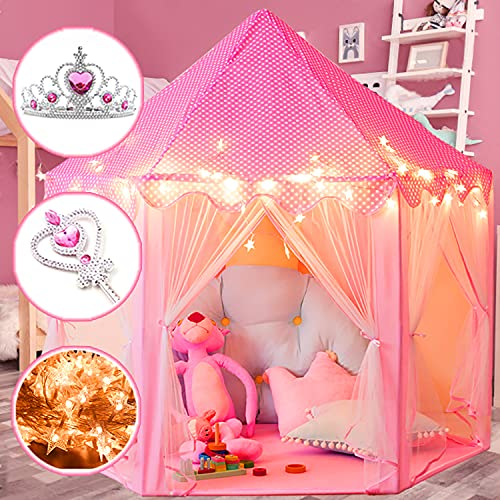 Princess Castle Play Tents for Girls, Kids Playhouse Indoor & Outdoor with 16.5 Feet Star Lights, Bonus Princess Tiara and Wand, Large Size 55  x 53  Toy, 2+ Years Old Girl Gifts