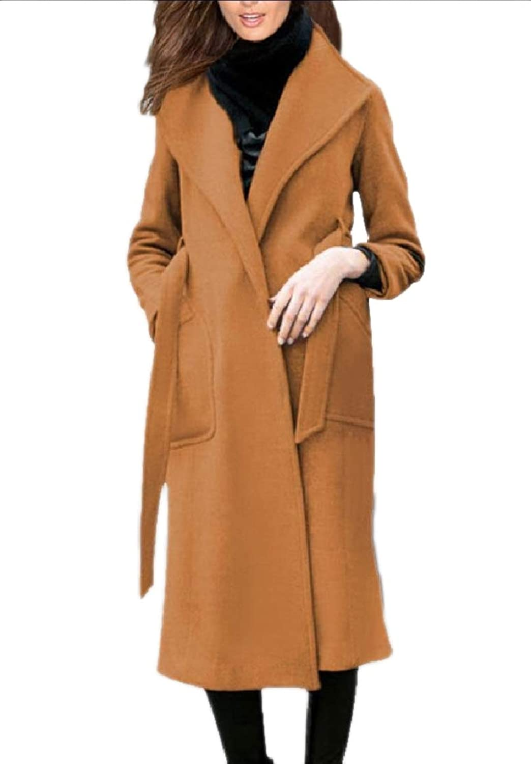 Tootca Women's Fitness Woolen Belted Solid Buttoned Trench Jacket Clothes