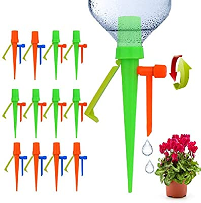 ?2020 Upgrade? Plant Self Watering Spikes Devices, Slow Release Control Valve Switch Automatic Irrigation Watering Drip System, for Preventing Stop Water Cutoff with Anti-Tilt Bracket-12Pack from Ankda