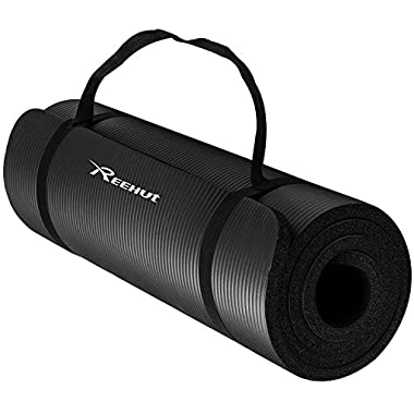 REEHUT 1/2-Inch Extra Thick High Density NBR Exercise Yoga Mat for Pilates, Fitness & Workout w/Carrying Strap (Black)