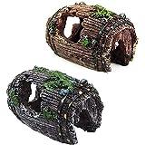2 Piezas Decoración de Acuario de Resina, Decoración de Cueva de Pecera, Decoración de Cueva de Barril Roto de Resina de Pecera para Ocultar Peces de Acuario, Camarones