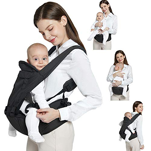 Soft Baby Carrier, 6-in-1 Ergonomic Convertible Carrier with Adjustable Straps and Breathable Mesh Dad Baby Carrier (Black)