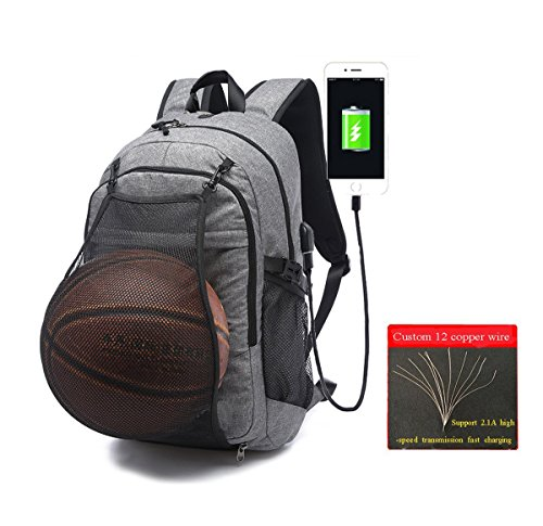 Laptop Sports Backpack, Durable Outdoor Travel Basketball Backpack - Soccer Backpack with USB Charging Port, Water Resistant College School Backpack, Gym Bag for Women Men, Fit 17.3 Laptop