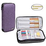 Teamoy Knitting Needles Case(up to 10-Inch), Travel Organizer Storage Bag for Circular and Straight Knitting Needles, Crochet Hooks and Knitting Accessories, Purple-NO Accessories Included
