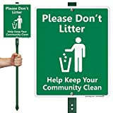 SmartSign 'Please Don't Litter - Help Keep Your Community Clean' LawnBoss Sign | 10' x 12' Aluminum Sign With 3' Stake
