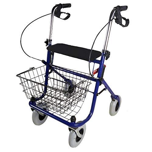 Rollator mit 4 Rädern, Gehhilfe, Gehwagen, bequem, faltbar, verstellbar, blau, Modell Victoria