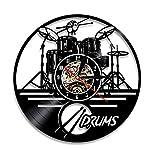 NOlogo Reloj de Pared de Vinilo Guitar Drums Set Vinyl Record Reloj de Pared Instrumento Musical Notas Reloj de Pared Decoración para el hogar Reloj de Pared Vintage Music Lover Gift30cm.12 Inches.