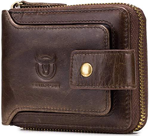 Mens Wallet with Zipper,Genuine Leather Zip Around Wallets RFID Blocking Bifold Multi Card Holder Purse (Brown)