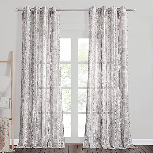StangH Sheer Curtains for Sliding Door - 95 inches Long Linen Semi Sheer Boho Curtains Light Airy Privacy Drapes for Cottage / Farmhouse, Taupe, W50 x L95, 2 Panels