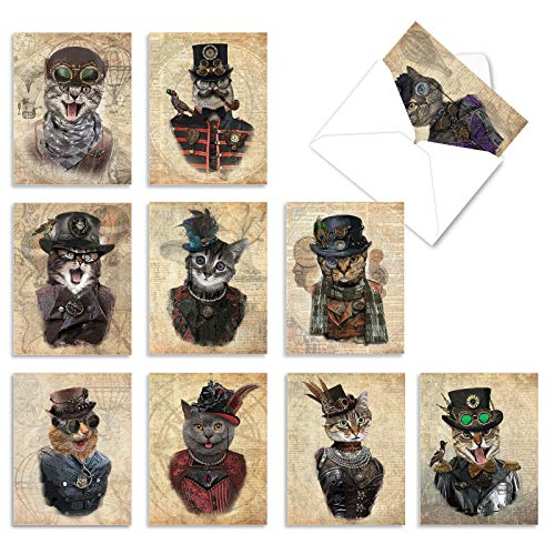 The Best Card Company, Steampunk Cats - 10 Blank Greeting Cards Assorted (4 x 5.12 Inch) - Animal Note Cards for All Occasions M6554OCB
