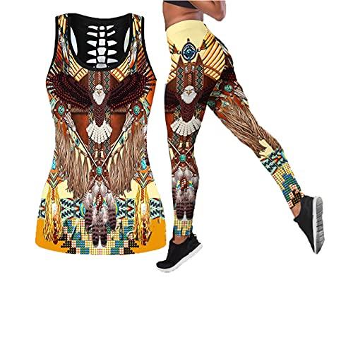 Vintage Hollow Tanktop para las mujeres de verano sexy sin mangas chaleco chica nativo indio águila Tank Top Mujer de gran tamaño