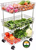Delzon Stainless Steel Spice 3-Tier Layer Fruits & Vegetable Onion Trolley Container Organizer Organiser/Basket for Home Kitchen Bathroom Storage Stand Rack)