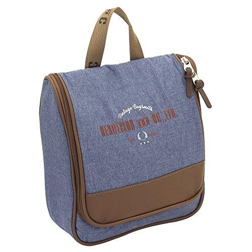 F23 Reisetaschen - Kulturbeutel Heritage-Serie in blau-meliert - wasserfest Hacken, 4 Netzfächer, 2 Reisverschlussfächer