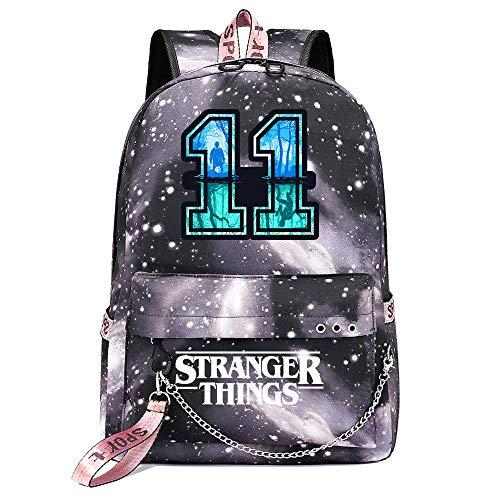 Stranger Things Mochila,Casual Laptop Mochila 11's Supernatural Powers Knapsack College Fashion School Bag 17 * 13 * 4 Pulgadas Galaxia Gris