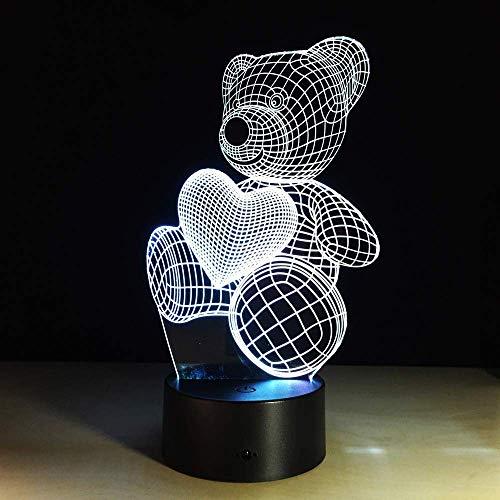 Liefdes-beer-3D-lamp geleid noten-geschenk-kijklicht tafellamp geleid lampen voor tabel USB statief 3D tafellampen