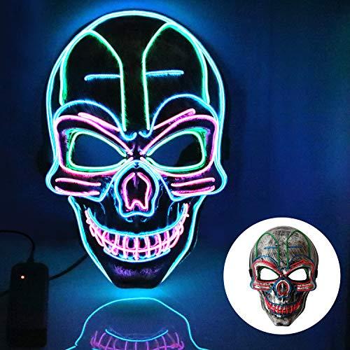 T98 Halloween Maske , LED Maske mit 3 Blitzmodi Totenkopf Maske für Mann Frau,Weihnachten, Karneval, Party, Kostüm Cosplay, Dekoration