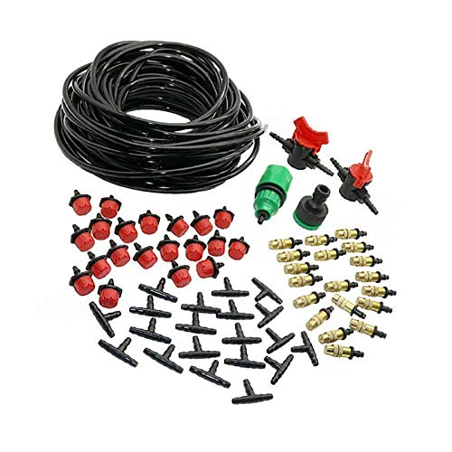 Rociador de riego de jardinería 1 Conjunto de kit automático de rociado DIY Boquilla de cobre 1/4 'Dripper de manguera 1/4' Acoplamiento rápido de tres vías Rociador de riego de planta automático